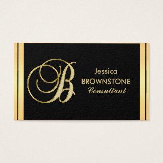 Tarjeta De Visita Letra negra 'B del oro con monograma elegante de
