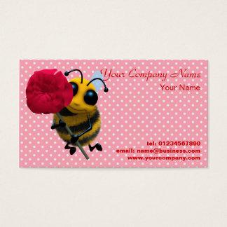 Tarjeta de visita linda de la flor de la abeja