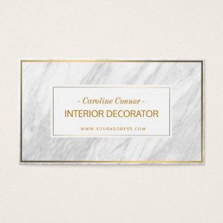 Tarjeta De Visita Linecard de oro de piedra de mármol del decorador