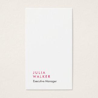 Tarjeta De Visita Llano impresionante elegante vertical del blanco