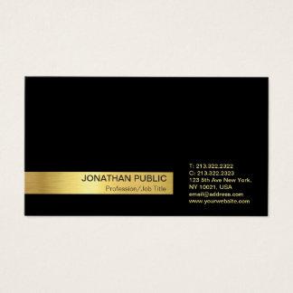 Tarjeta De Visita Llano negro profesional elegante moderno del oro