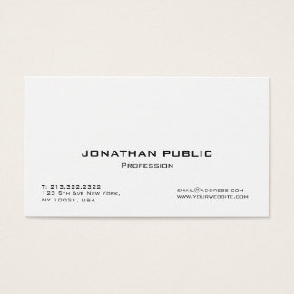 Tarjeta De Visita Llano simple blanco elegante profesional moderno
