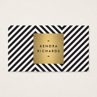 Tarjeta De Visita Logotipo blanco y negro retro del nombre del oro
