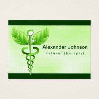 Tarjeta De Visita Luz verde de la medicina alternativa del caduceo