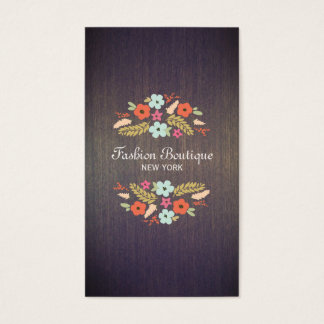 Tarjeta De Visita Madera floral del país del vintage