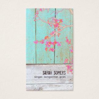 Tarjeta De Visita Madera floral rústica de la turquesa del país
