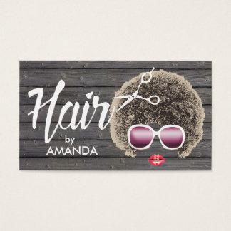 Tarjeta De Visita Madera natural afroamericana del pelo del