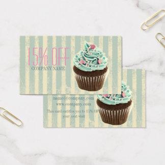 Tarjeta De Visita magdalena verde azulada del postre de la panadería