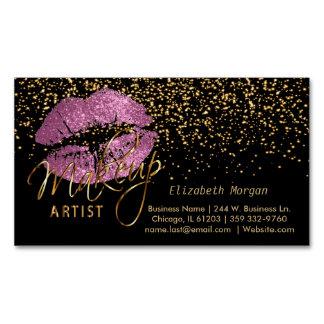 Tarjeta De Visita Magnética Artista de maquillaje con confeti del oro y labios