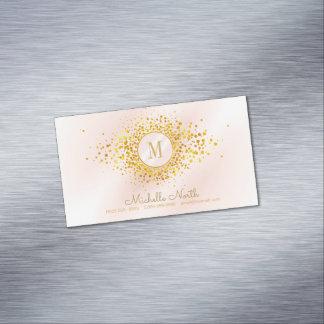 Tarjeta De Visita Magnética Efecto metalizado de oro subió monograma del