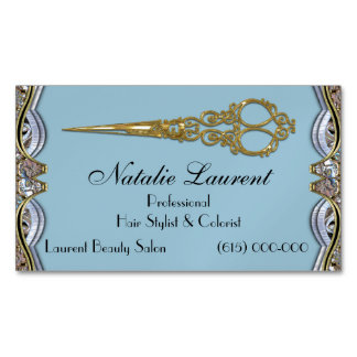 Tarjeta De Visita Magnética El profesional elegante Scissor el azul elegante