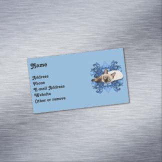 Tarjeta De Visita Magnética Gato siamés con diseño floral azul