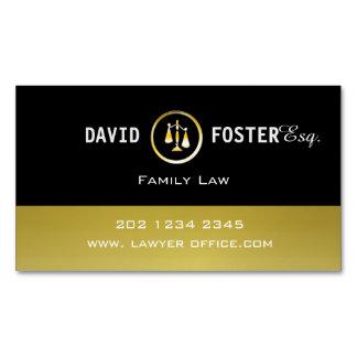 Tarjeta De Visita Magnética Logotipo profesional de la justicia del oro de la
