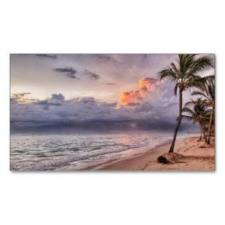 Tarjeta De Visita Magnética Puesta del sol de la playa de Sandy de las olas