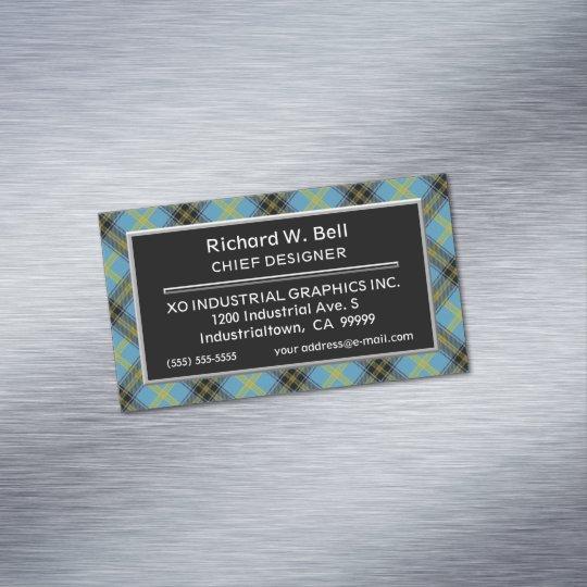 Tarjeta De Visita Magnética Tartán escocés de Bell del clan del acento