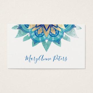 Tarjeta De Visita mandala azul y falsa del instructor de la yoga del