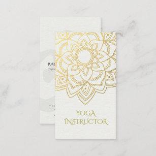 4223bedef0623 Tarjeta De Visita Mandala floral elegante del oro blanco del