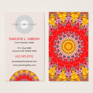Tarjeta De Visita Mandala roja y amarilla detallada colorida