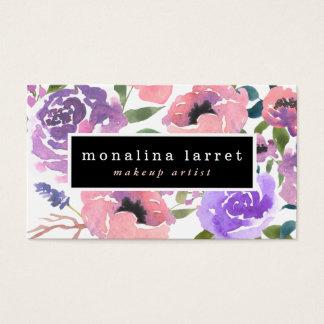 Tarjeta De Visita Manojo floral púrpura rosado brillante de la