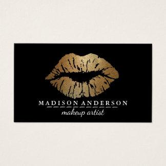 Tarjeta De Visita Maquillaje negro moderno Artis de los labios del