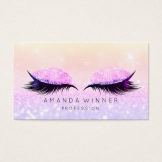 Tarjeta De Visita Maquillaje rosado púrpura del purpurina del