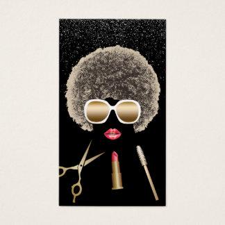Tarjeta De Visita Maquillaje y salón de belleza moderno del Afro del