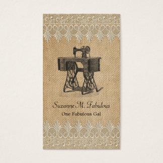 Tarjeta De Visita Máquina de coser del vintage del cordón de la