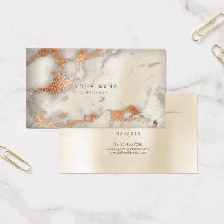Tarjeta De Visita Marfil de mármol abstracta del oro del cobre de la