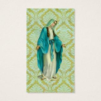 Tarjeta De Visita Maria en un modelo verde y azul del vintage del