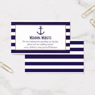 Tarjeta De Visita Marina de guerra náutica y boda blanco del ancla
