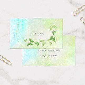 Tarjeta De Visita Mariposa azul de Tiffany de la verde menta