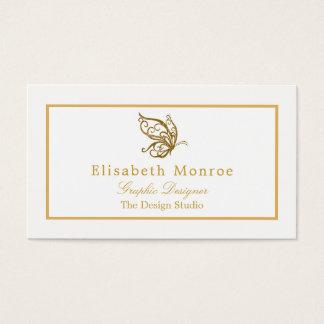 Tarjeta De Visita Mariposa del brillo del oro del vintage