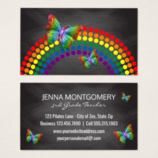 Tarjeta De Visita Mariposas del arco iris del profesor de escuela el