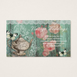 Tarjeta De Visita Mariposas verdes de los rosas de la tetera del