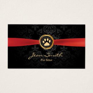 Tarjeta De Visita Mascota que sienta el damasco rojo elegante de la