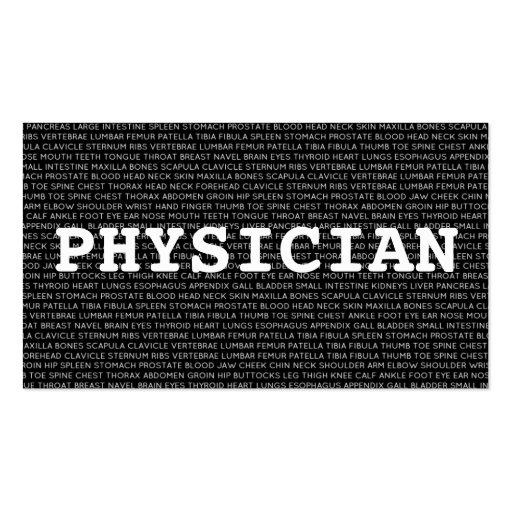 Tarjeta de visita médica de las palabras del médic