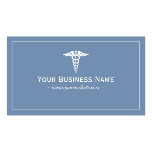 Tarjeta de visita médica llana azul simple
