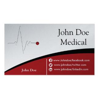 Tarjeta de visita médica roja y de plata
