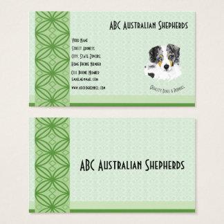 Tarjeta De Visita Merle azul Aussie en verde en Lt Green