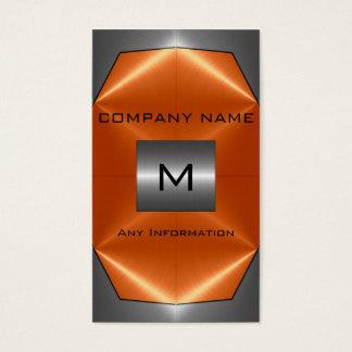 Tarjeta De Visita Metal gris y anaranjado del acero inoxidable