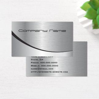 Tarjeta De Visita Metal negro de plata moderno elegante profesional