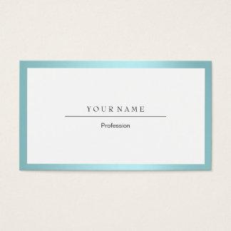 Tarjeta De Visita Metálico blanco mínimo de Tiffany del marco azul