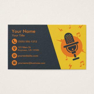 Tarjeta De Visita Micrófono amarillo y anaranjado