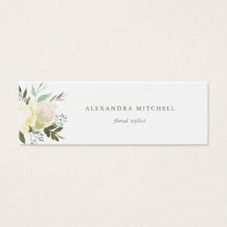 Tarjeta De Visita Mini Acuarela el   suave floral de marfil en blanco