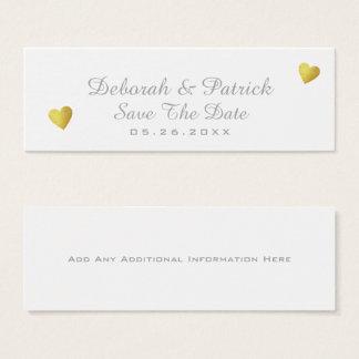Tarjeta De Visita Mini ahorre la parte-tarjeta de la fecha. casar blanco