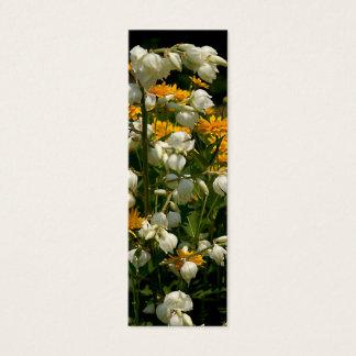Tarjeta De Visita Mini Amarillo y blanco florecidos - marcador de libro