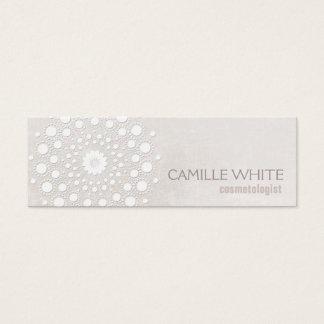 Tarjeta De Visita Mini Balneario elegante de la textura de marfil blanca