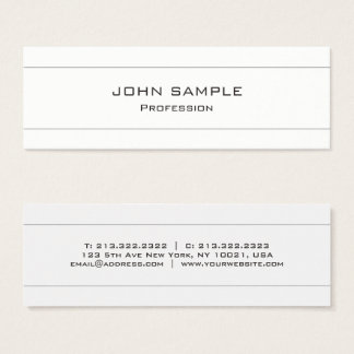Tarjeta De Visita Mini Blanco moderno profesional y gris minimalistas
