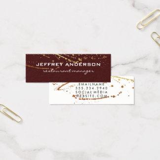 Tarjeta De Visita Mini Blanco rojo de la salpicadura del lux