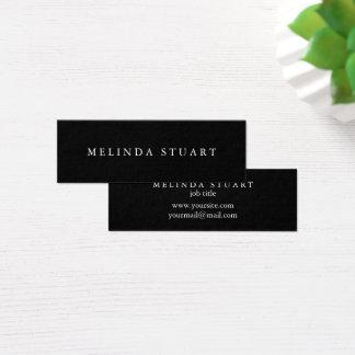 Tarjeta De Visita Mini Blanco y negro elegante minimalista moderno